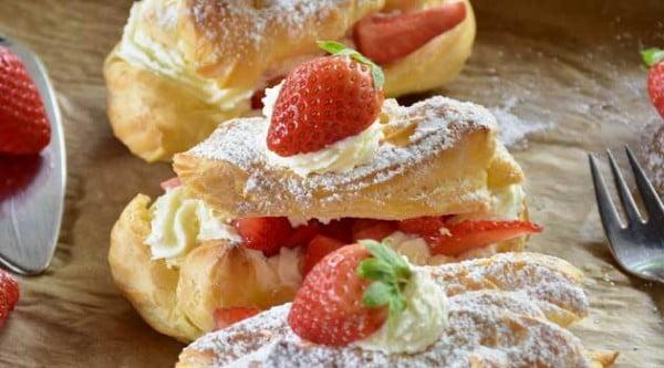 Strawberry Cheesecake Eclairs Recipe #eclair #dessert #recipe