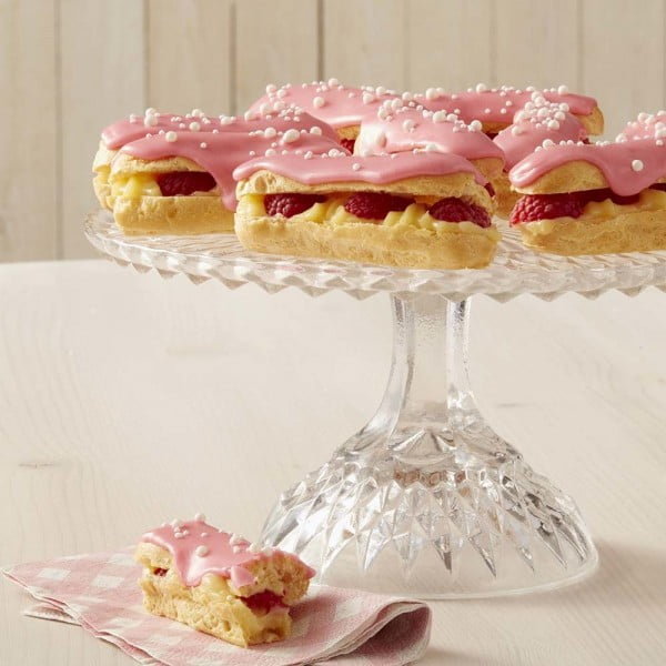 White Chocolate Raspberry Éclairs #eclair #dessert #recipe