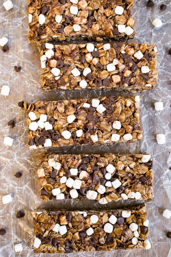 No Bake Nutella S'mores Granola Bars #granolabars #snacks #healthy #food #recipe