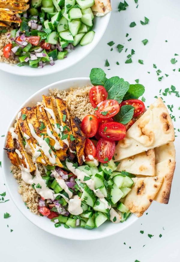 Healthy Chicken Shawarma Quinoa Bowls #lunch #healthy #food #snack #recipe