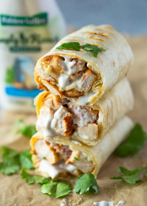 Chicken Ranch Wraps #lunch #healthy #food #snack #recipe