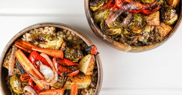 Honey Balsamic Roasted Vegetable Bowls #lunch #healthy #food #snack #recipe
