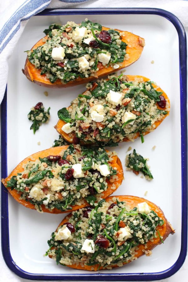 Roasted Sweet Potatoes Stuffed with Quinoa and Spinach #lunch #healthy #food #snack #recipe