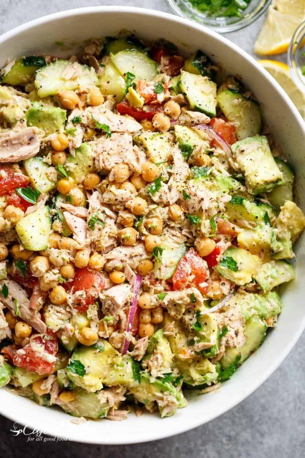 Avocado Chickpea Tuna Salad Recipe #lunch #healthy #food #snack #recipe