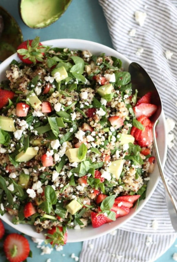 Strawberry Avocado Feta Spinach Quinoa Salad with Basil and Balsamic #lunch #healthy #food #snack #recipe