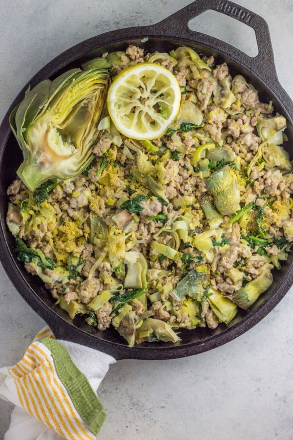 Paleo One Pot Turkey Spinach Artichoke Hash #healthy #onepot #dinner #food #recipe