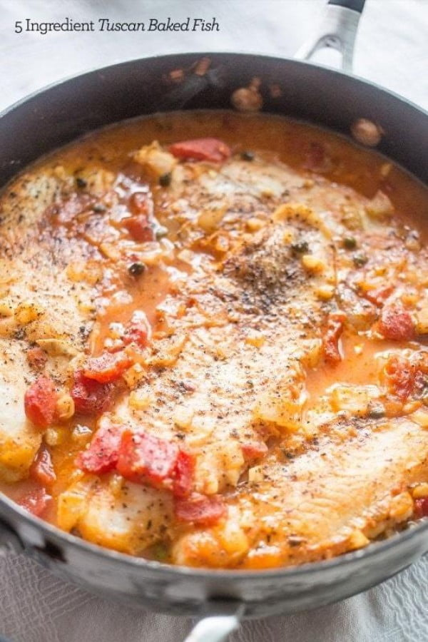 One Pot 5 Ingredient Tuscan Baked Fish #healthy #onepot #dinner #food #recipe