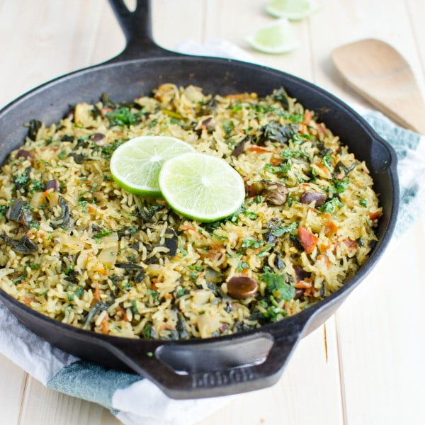 One Pot Spinach Rice #healthy #onepot #dinner #food #recipe