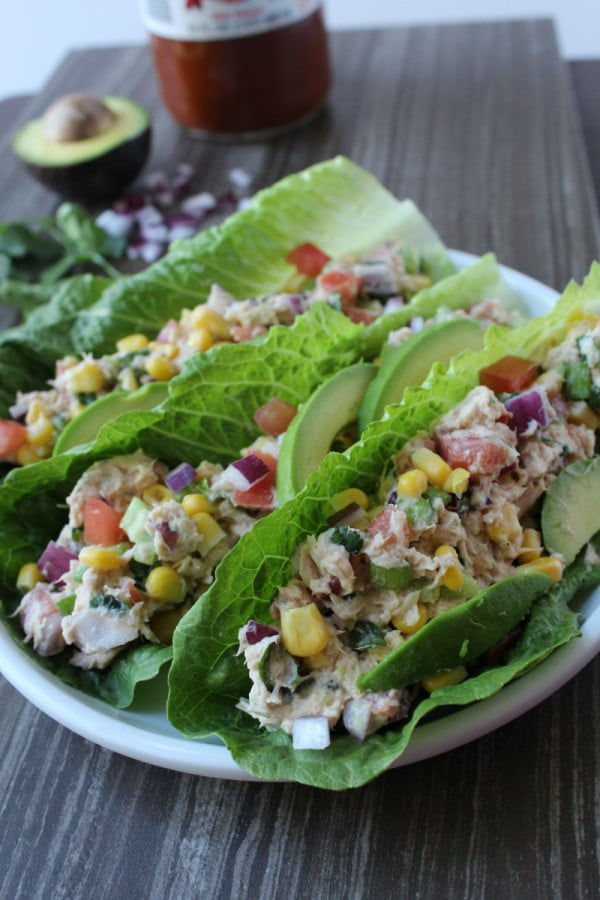 Mexican Tuna Salad Lettuce Wraps #lunch #highprotein #healthy #recipe