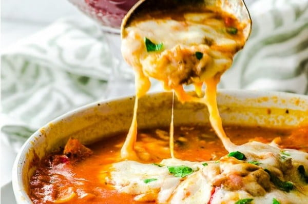 High Protein Vegan Lasagna Soup #lunch #highprotein #healthy #recipe