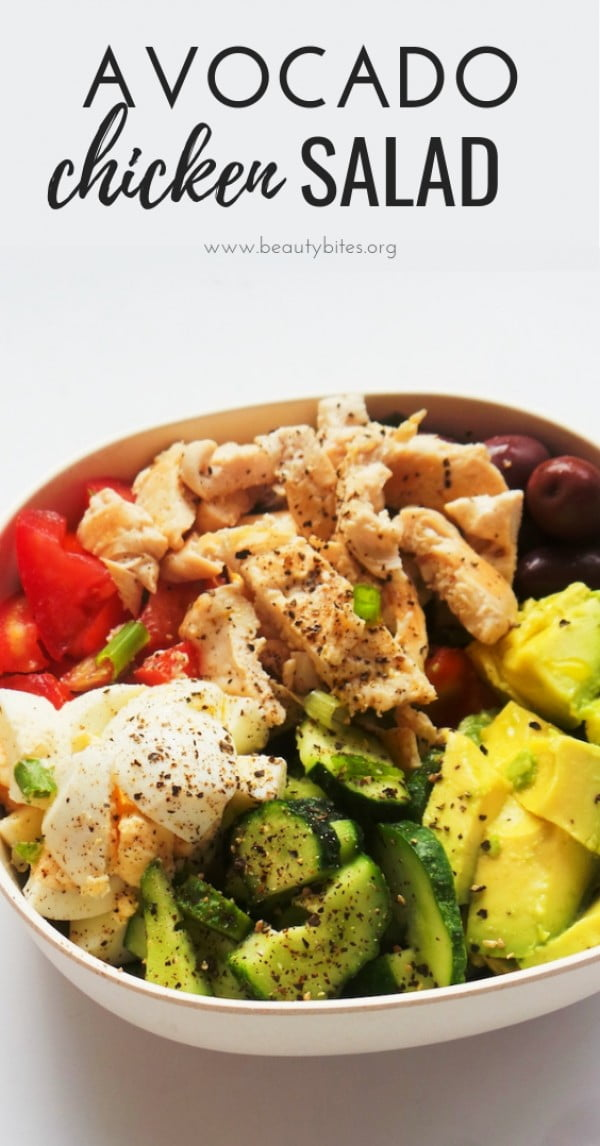 Avocado Chicken Salad #lunch #highprotein #healthy #recipe