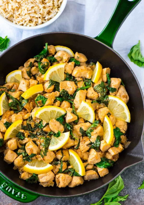 Basil Chicken with Lemon and Spinach #lunch #highprotein #healthy #recipe