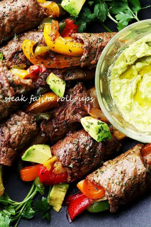 Sirloin Steak Fajita Roll-Ups Recipe #lunch #highprotein #healthy #recipe