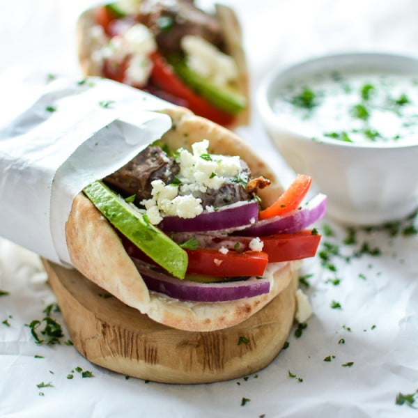 Lamb Gyros with Spicy Tzatziki #lamb #dinner #recipe
