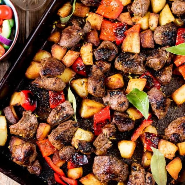 Marinated Greek Lamb with Lemon Roast Potatoes #lamb #dinner #recipe