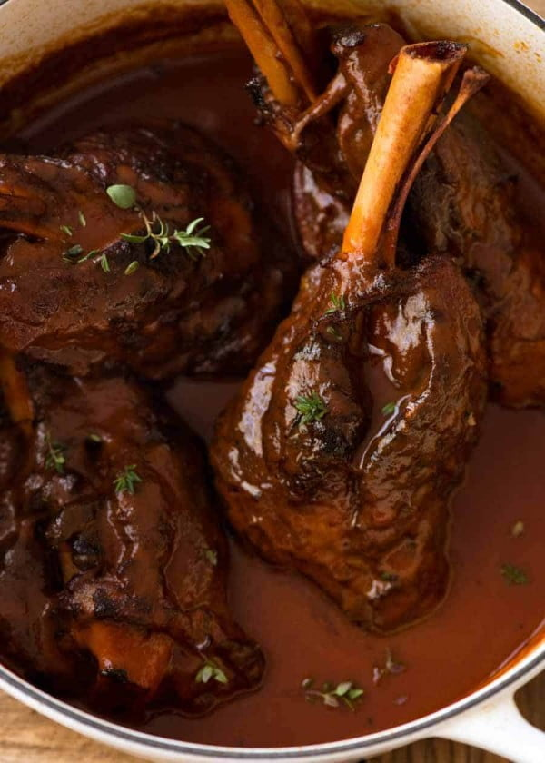 Slow Cooked Lamb Shanks in Red Wine Sauce #lamb #dinner #recipe