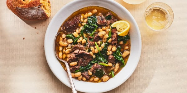 Instant Pot Braised Lamb with White Beans and Spinach #lamb #dinner #recipe