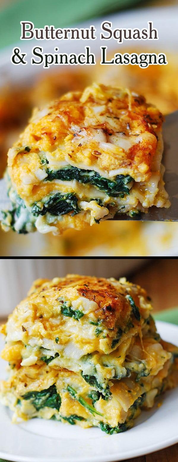 Butternut Squash and Spinach Lasagna #lasagna #dinner #food #recipe