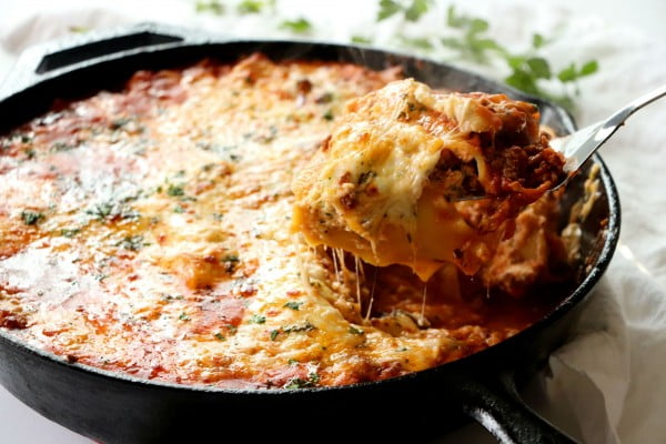 Cast Iron Skillet Lasagna #lasagna #dinner #food #recipe