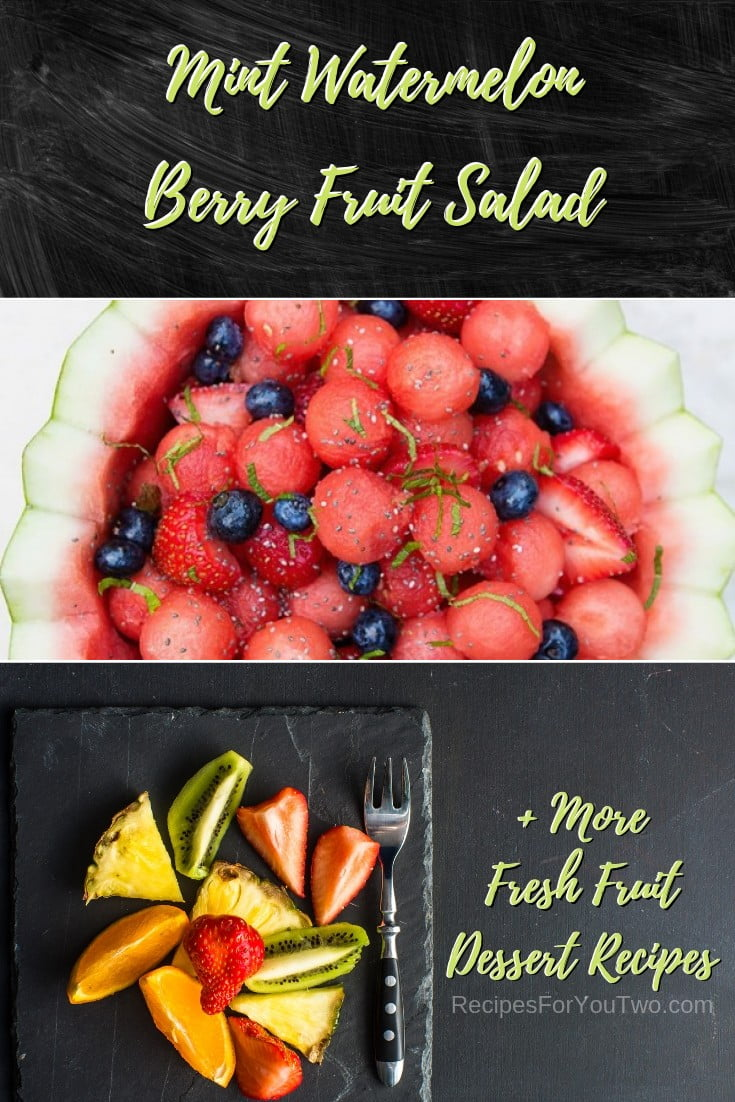 Mint Watermelon Berry Fruit Salad #freshfruit #fruit #dessert #recipe #food #picnic