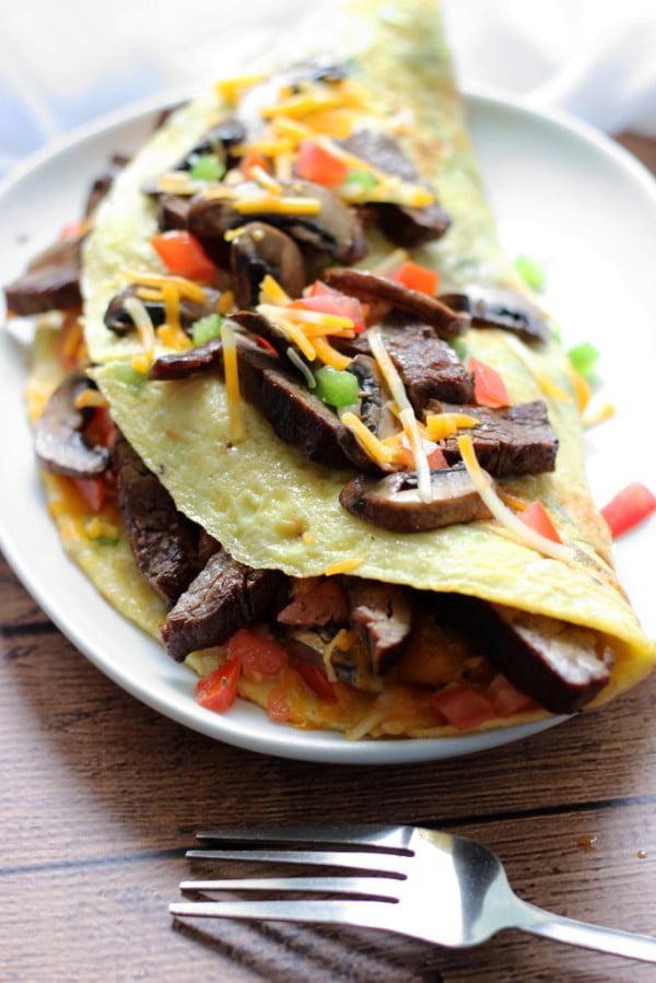 Big Steak Omelette #omelette #breakfast #eggs #recipe