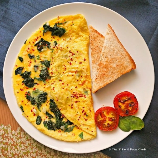 Spinach Omelette #omelette #breakfast #eggs #recipe