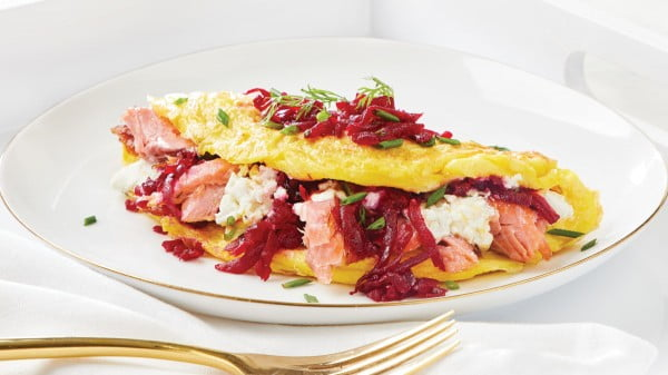 Smoked Salmon Omelette with Goat Cheese & Beet Relish #omelette #breakfast #eggs #recipe