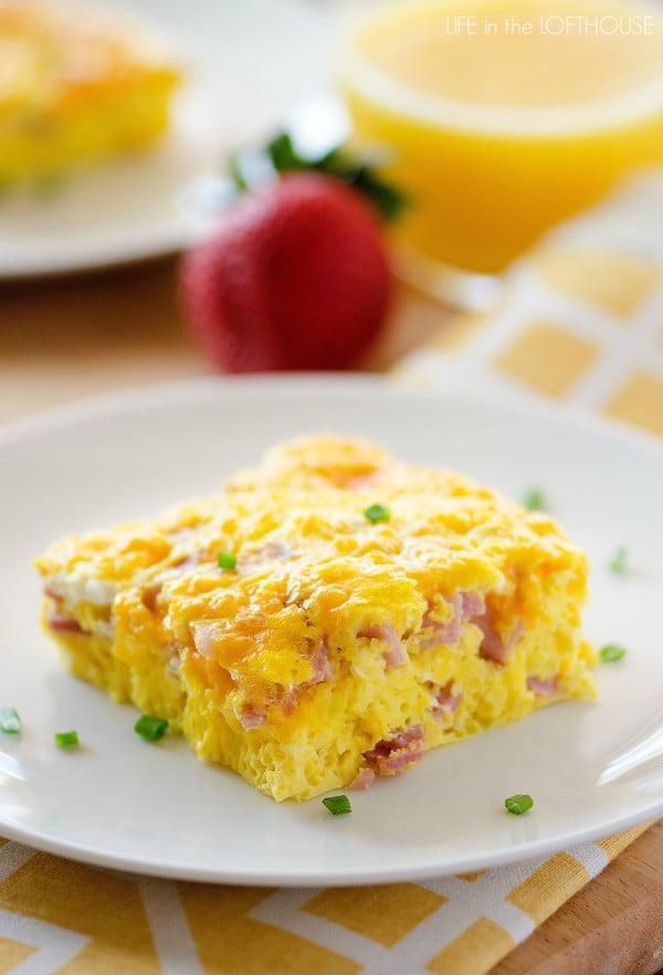 Baked Ham and Cheese Omelette #omelette #breakfast #eggs #recipe
