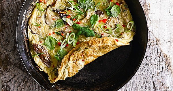 Ginger, spring onion and mushroom omelette #omelette #breakfast #eggs #recipe