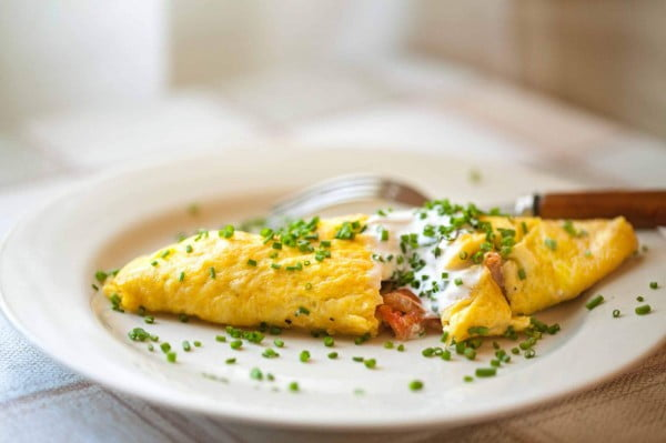 Omelette with Cherry Tomatoes #omelette #breakfast #eggs #recipe