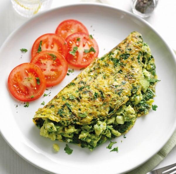 Super Green Omelette Vegetarian Recipe #omelette #breakfast #eggs #recipe