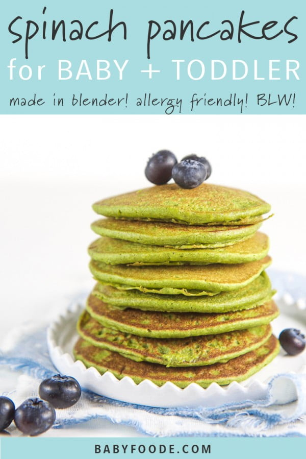 Easy Blender Spinach Pancakes for Baby + Toddler (Allergy Friendly!) #pancakes #dinner #lunch #snack #food #recipe