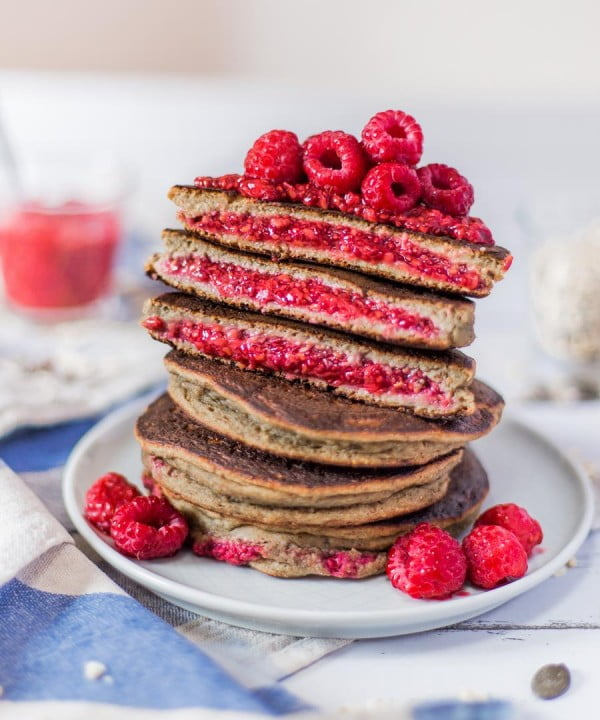 Raspberry Chia Jam Stuffed Pancakes #pancakes #dinner #lunch #snack #food #recipe