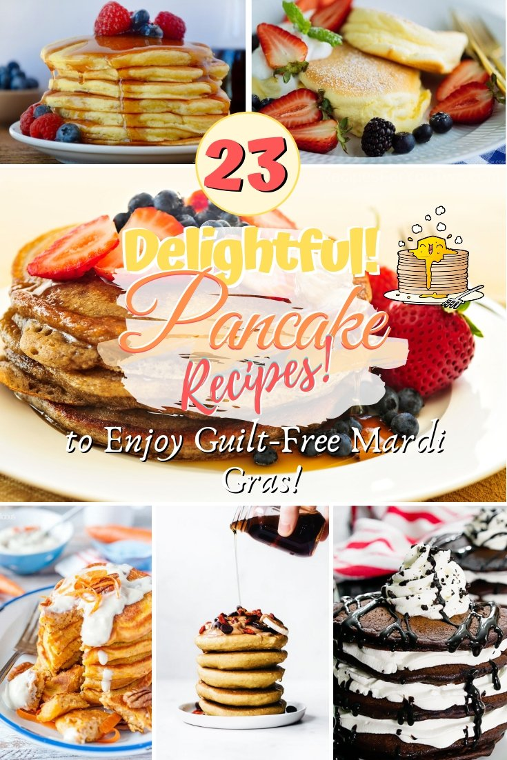 Don't get overwhelmed, enjoy a guilt-free Mardi Gras with these mostly healthy and delightful pancake recipes. Great recipe ideas! #mardigras #pancakes #breakfast #lunch #food #recipe