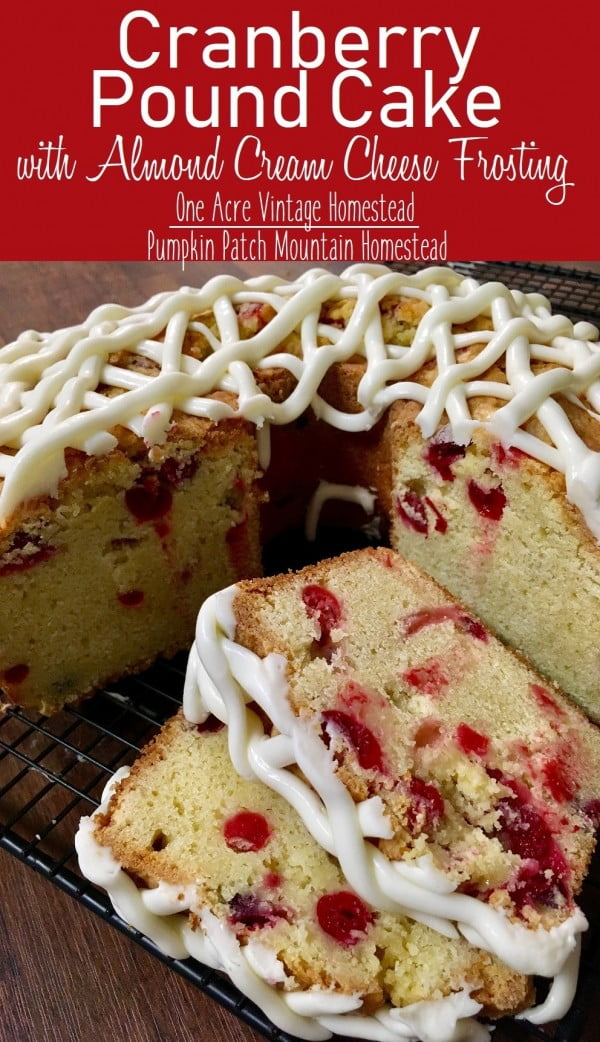 Cranberry Pound Cake ⋆ One Acre Vintage & Pumpkin Patch Mtn. #poundcake #cake #recipe #dessert