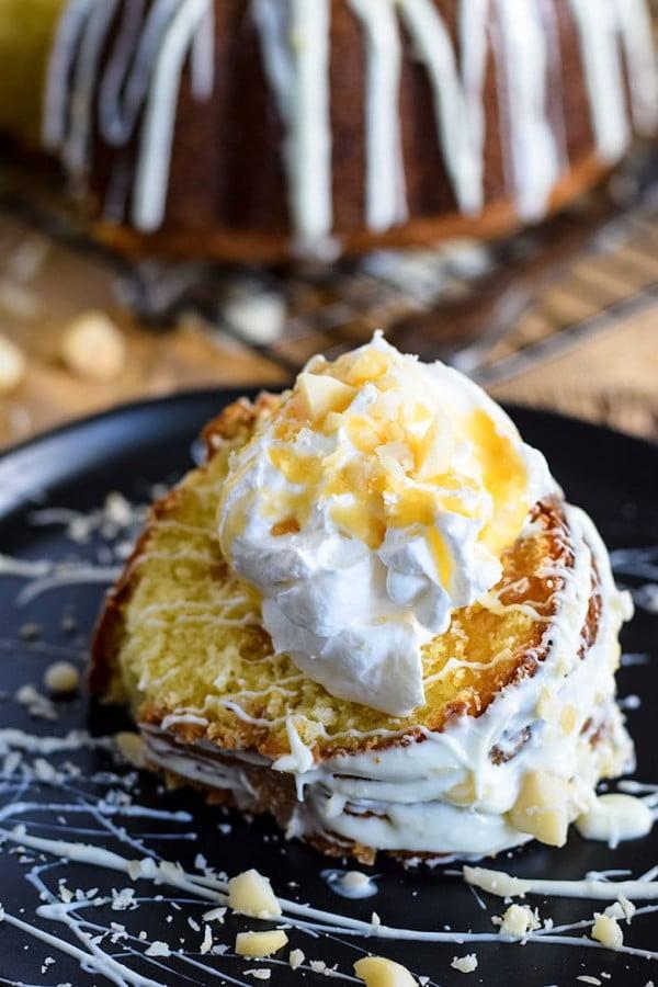 White Chocolate Macadamia Nut Pound Cake #poundcake #cake #recipe #dessert