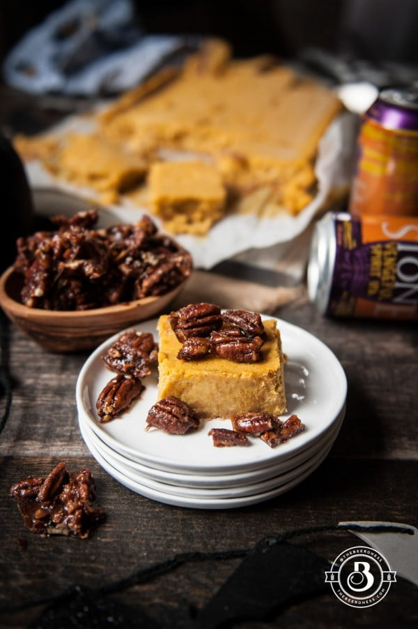 IPA Pumpkin Cheesecake Bars with Beer Candied Pecans #beer #dinner #recipe #food