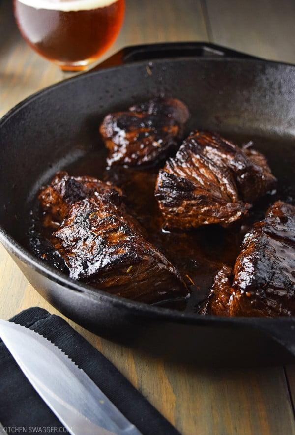 Marinated Steak Tips Recipe with Beer Teriyaki Marinade #beer #dinner #recipe #food