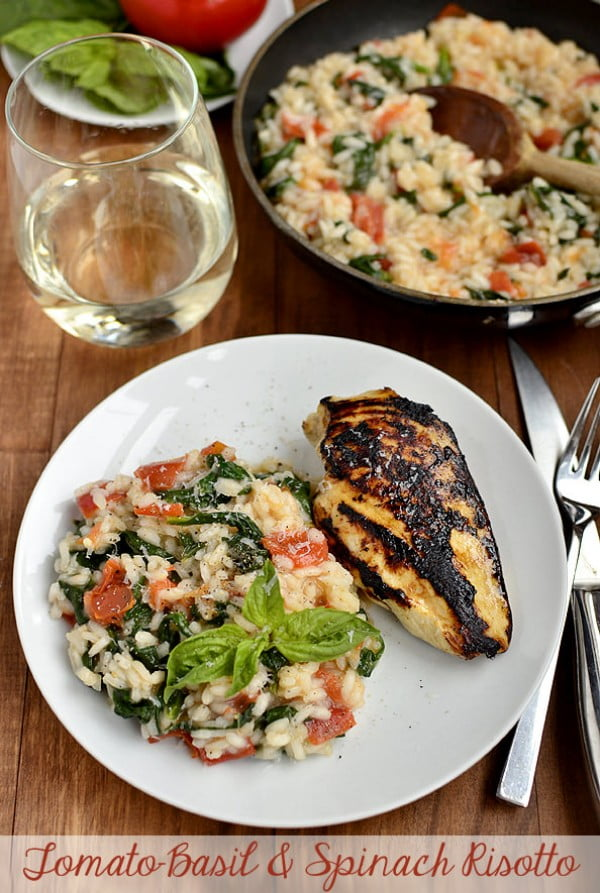 Tomato-Basil & Spinach Risotto #risotto #rice #dinner #recipe #food