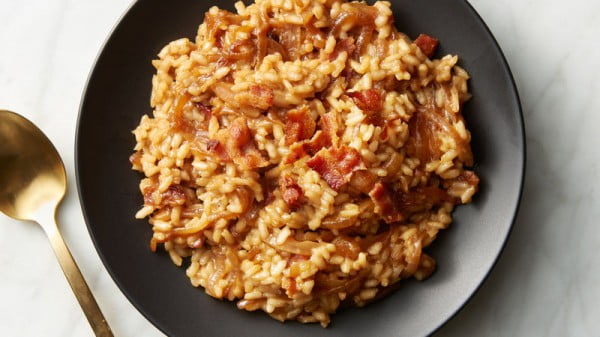 French Onion and Bacon Risotto #risotto #rice #dinner #recipe #food