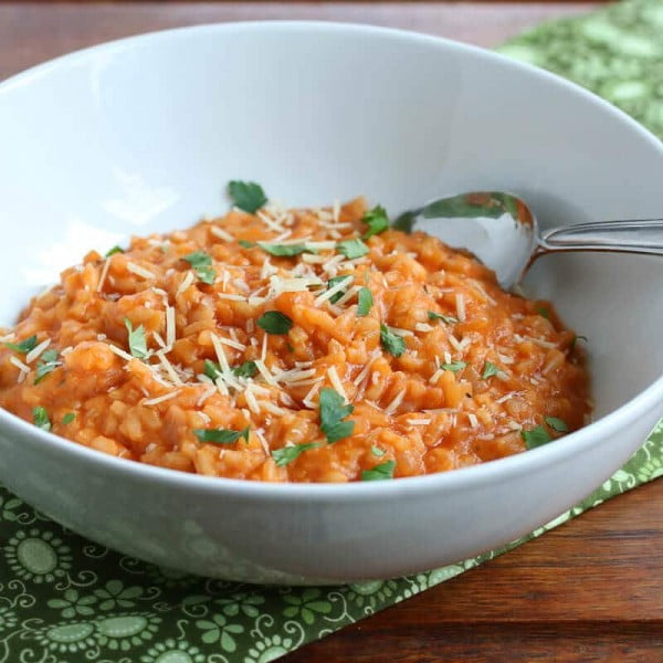 Roasted Tomato Risotto #risotto #rice #dinner #recipe #food