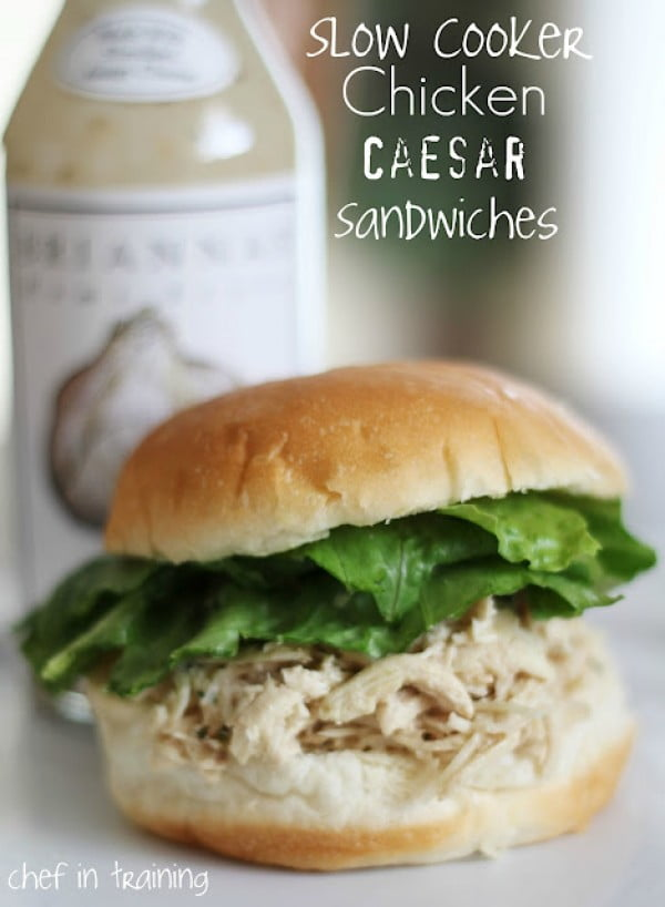 Slow Cooker Chicken Caesar Sandwiches #sandwich #lunch #snack #recipe