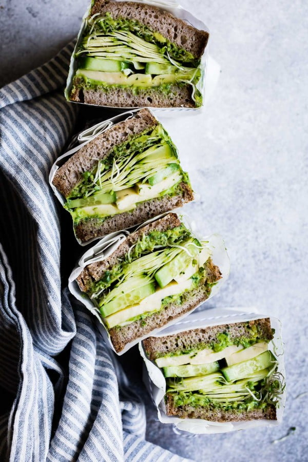 Avocado Green Goddess Sandwiches with Havarti #sandwich #lunch #snack #recipe
