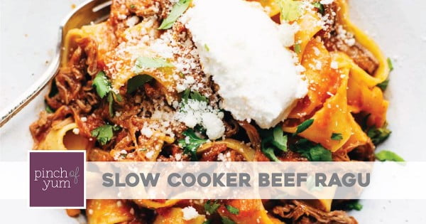 Slow Cooker Beef Ragu with Pappardelle #slowcooker #crockpot #pasta #recipe #dinner #food