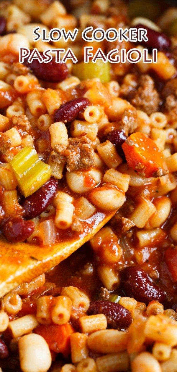 Slow Cooker Pasta Fagioli #slowcooker #crockpot #pasta #recipe #dinner #food