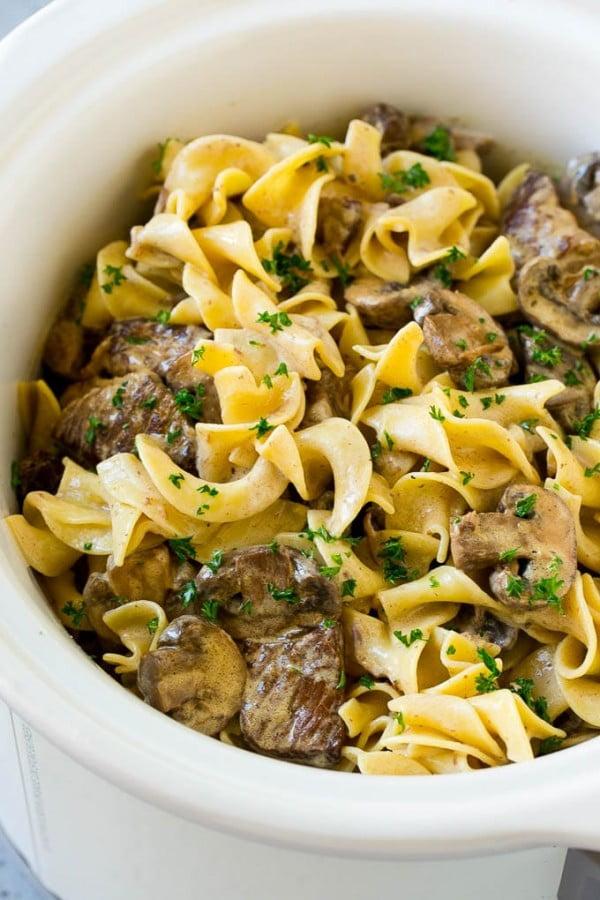 Slow Cooker Beef Stroganoff #slowcooker #crockpot #pasta #recipe #dinner #food