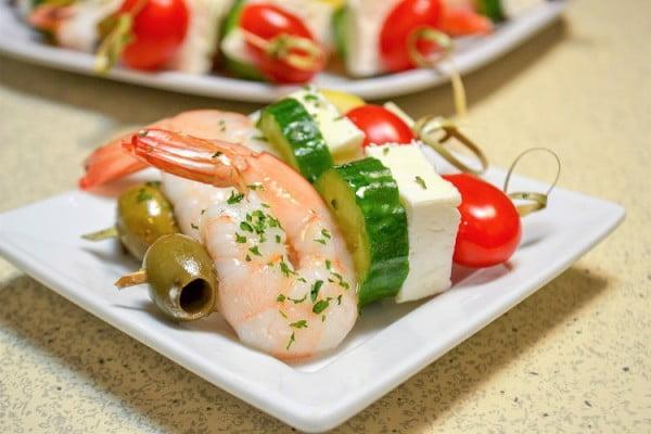 Greek Shrimp Skewers #smallbites #partyfood #snack #recipe