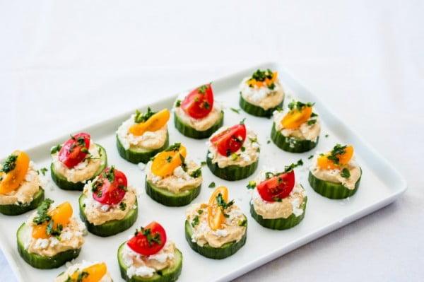 Cucumber & Hummus Bites #smallbites #partyfood #snack #recipe