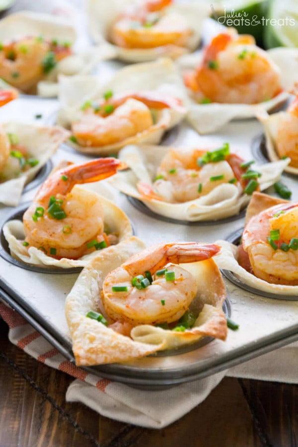 Light Tex Mex Shrimp Wonton Cups #smallbites #partyfood #snack #recipe