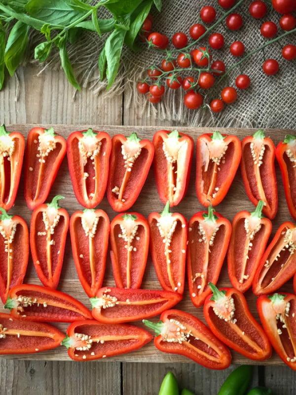 Roast caprese stuffed mini sweet peppers #smallbites #partyfood #snack #recipe